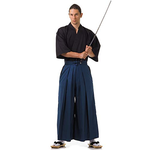 PRINCESS OF ASIA Japan Samurai Iaido Outfit Set Kendo Gi Kimono & Hakama Hose (Blau & Schwarz)