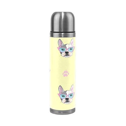 Ffy Go Travel Mug, chien mignon d'impression personnalisé Thermos en acier inoxydable LeakProof Thermos isotherme extérieur Cuir pour filles garçons 500 ml Jaune