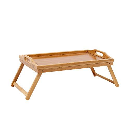 SogesHome KS-HSJ-05-SH - Bandeja de bambú para desayuno con asas, para bebidas, mesa de cama, escritorio de regazo, patas plegables y fácil de abrir, 50 x 30 x 21 cm, KS-HSJ-05-SH