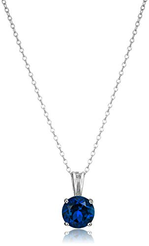 Amazon Essentials Sterling Silver Round Cut Created Blue Sapphire Birthstone Pendant Necklace (September), 18'
