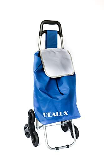 dealux Carrello per La Spesa Leggero e Pieghevole Shoppy 2.0 Tris Colore Blu con 6 Ruote e Sistema Saliscale