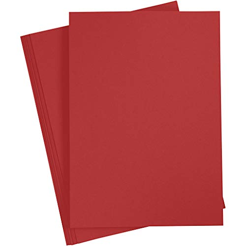 Bastelpapier Rot, 20 Blätter, DIN A4 210x297 mm, 70 g. Tonpapier zum Basteln und Gestalten