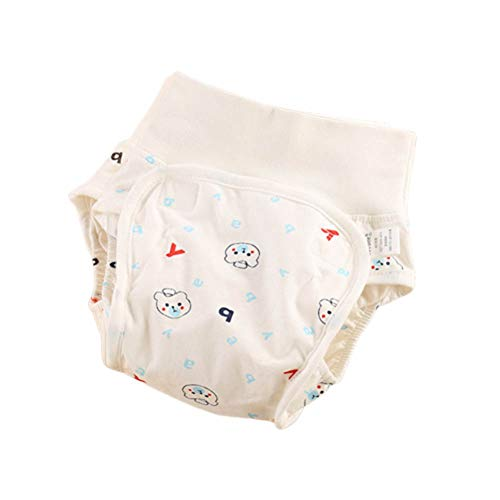 FairOnly Baby High-Waist Cartoon Patterns Windelhose Stoffwindel Waschbar Auslaufsichere Windeln Bear Blue 90#