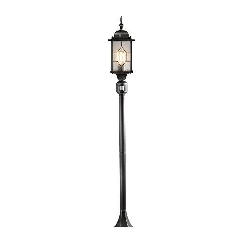 Konstsmide Milano 7249-759 padverlichting/B: 16cm T: 16cm H: 131cm / 1x60W / IP43 / gelakt aluminium/zwart-zilver/met BWM