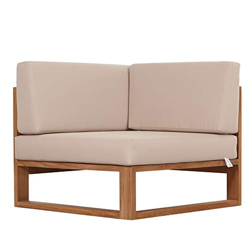 Teako Design Outdoor Sofa Molveno Eckteil mit Auflagen Teak unbehandeltes Massivholz Ecklounge Wetterfest Teakholz