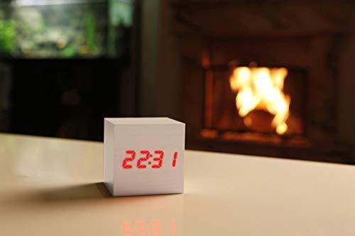TEPUY Wood Color Blanco LED Reloj Despertador Reloj de Madera Reloj Digital Despertador Oficina Fecha Temperatura Pantalla 12/24 Horas