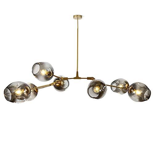 Sputnik Kronleuchter 9 Licht Nordic Modern Magic Bean Kronleuchter Mit Globe Glass Schatten Industrielle Pendelleuchte Befestigung Zu Küche Esszimmer Grauer Lampenschirm 7-leuchten