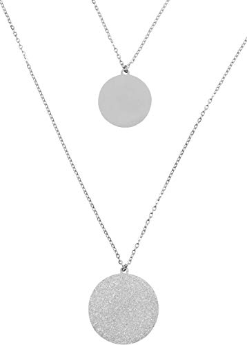 styleBREAKER Dames RVS laag ketting 2 rijen met glinsterende medaillons, ankerketting, ketting, sieraden 05030065