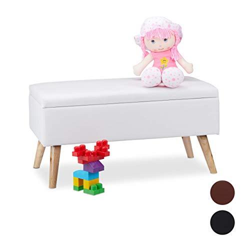 Relaxdays Sitzbank mit Stauraum, 40 L, gepolstert, Holzbeine, Truhenbank Kunstleder, HxBxT: 40 x 80 x 39,5 cm, weiß, Größe