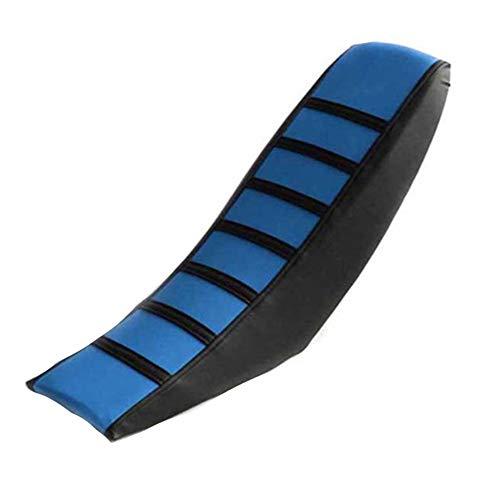 Motorrad-Sitzbezug, Off Road Universal PVC Soft Pad Durable Gripper rutschfest gestreift Dirt Bike Kissen dick für Yamaha für Honda, blau