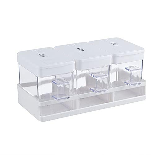 CROWNXZQ 3 potes de Especias Cocina, Pieza Caja condimentos Transparentes Set- Premium Calidad Almacenamiento contenedor contenedores condimento Jars Rack Acrylic con Tapa y Cuchara Organizador hogar