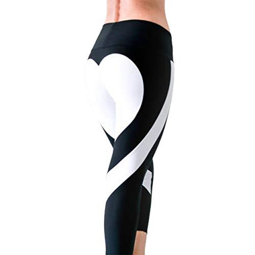 Tree-de-Life Frauen Special Design Liebe Yoga Leggings Herz Beute Hosen Laufhose Crop Workout Hose Höhe Wasit - Schwarz und weiß XL