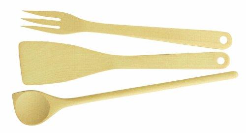 Tescoma Set 3 pièces avec cuillère, spatule et fourchette de cuisine en bois