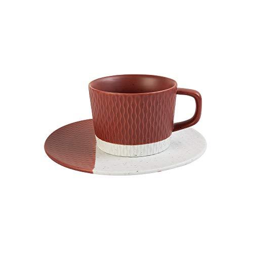 HARLIANGXY Kaffeetassen aus Keramik, Kaffeebecher, Cappuccinotasse, Retro Tassen, mit Untertasse, 200 ml, Porzellan, Spülmaschinengeeignet