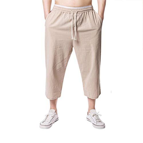 Amlaiworld Leinen Strand Sommer 3/4 lang Hosen Mode Sport locker Pants Band Herren Freizeithose Retro Gemütlich Elastische Taillen Jogginghose