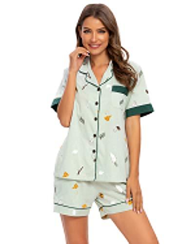 MINTLIMIT Schlafanzug Damen Pyjama Set Lang mit Knopfleiste Langarm V Ausschnitt Nachtwäsche Soft Sleepwear Loungewear für Frauen Sport Yoga Jogging