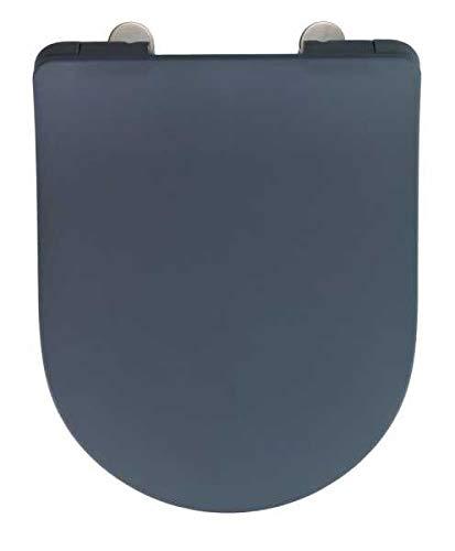 WENKO Premium WC-Sitz Sedilo matt Grau - Antibakterieller Toiletten-Sitz mit Absenkautomatik, rostfreie Fix-Clip Hygiene Edelstahlbefestigung, Soft-Touch Beschichtung, Duroplast, 36.2 x 45.2 cm, Grau