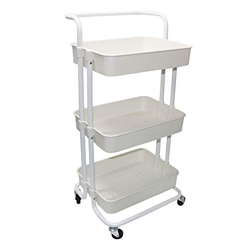 Beaugreen 3-Tiers Rolling Cart Storage Utility Cart Trolley Storage Shelves with Handles for Kitchen Bathroom Office Home(Off - White)
