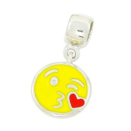 Emoji-Charms aus 925er Silber mit farbigem Emaille kompatibel mit Pandora, Trollbeads und ähnlichem. Kiss