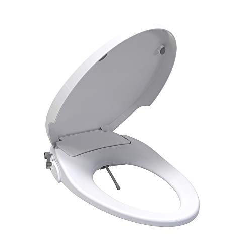 SANIWISE Bidet Toilet Seat for Elongated Toilet with Self-Cleaning Dual Nozzles, Rear & Feminine Washing, Soft Closing Lid Non-Electric Bidet Attachment, Adjustable Strong Spray Washlet, White Color