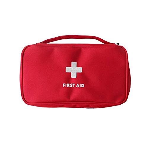 Pudincoco Sac de médecine Domestique Portable Multicouche Vide Sac de Premiers Soins Pouch Sac de Voiture en Plein air Voyage Rescue Bag pour Cas d'urgence (Rouge)