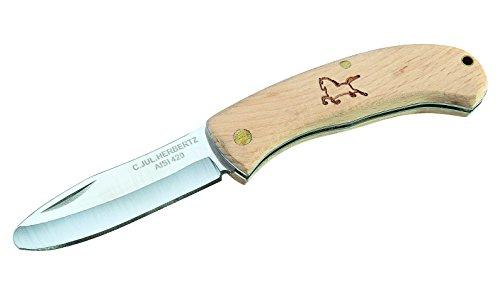 Herbertz Kinder Taschenmesser - Stahl AISI 420 - Slipjoint - abgerundete Klinge - Buchenholz Griffschalen - Fangriemenöse, 295908