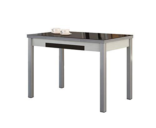 ASTIMESA Mesa de Cocina con Alas de Cristal Negro