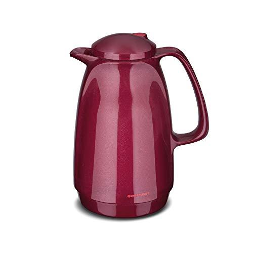 ROTPUNKT Isolierkanne 220 Bella 1,0 l | Zweifunktions-Drehverschluss | BPA-frei - gesundes Trinken | Made in Germany | Warm + Kalthaltung | Glaseinsatz | Sparkling red