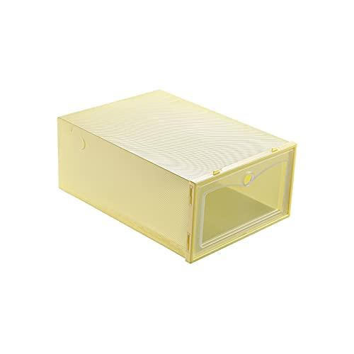 YUANB Cajas de Almacenamiento de Zapatos Organizador de Zapatos de plástico Transparente 6 Paquete, Necesidad de ensamblar para armarios y Entrada Yellow
