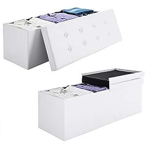 Deuba 2en1 baúl cajon de almacenaje y banco Blanco 100L tapa plegable asiento acolchado repelente al agua 80x40x40cm