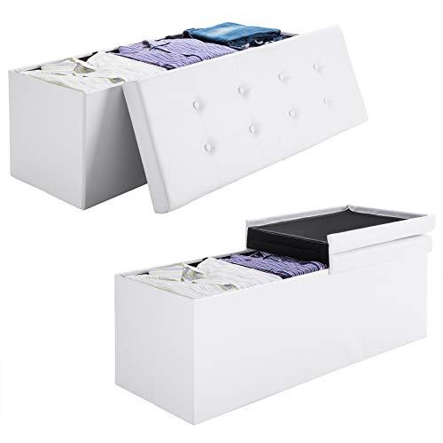 Deuba Faltbare Sitztruhe mit Stauraum 100 L Deckel klappbar 80x40x40 cm Weiß Kunstleder Aufbewahrungsbox Sitzhocker Bank