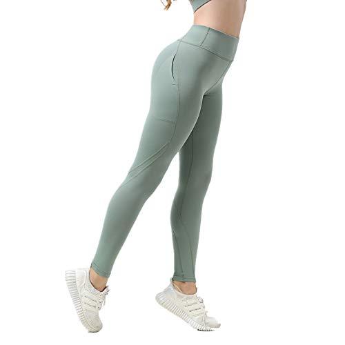 nonbranded Leggings da donna Sports Running Pantaloni cropped Pantaloni da yoga a vita alta traspiranti Stretch Fitness Training Outdoor ciano S