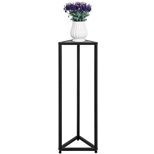 MyGift 36-inch Triangular Torched Wood & Black Metal Frame Flower Rack Plant Stand/Corner Accent Table