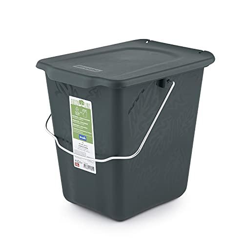 Rotho Greenline, Cubo de abono 7l con tapa y asa para la cocina, Plástico PP sin BPA, verde, 7l 26.0 x 20.8 x 25.0 cm