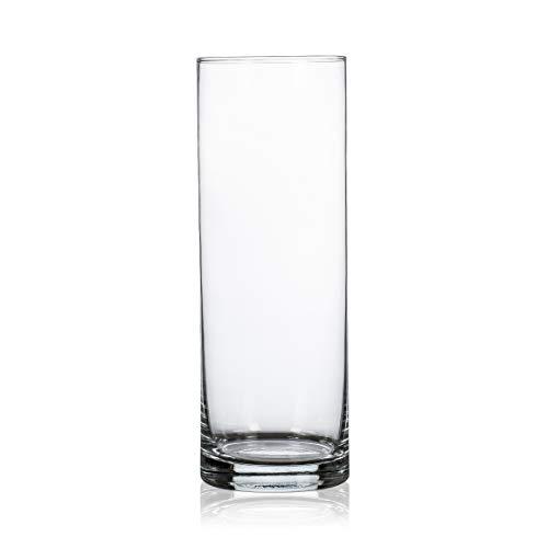 CRISTALICA Glasvase Dekovase Zylindervase rund Transparent Glas Höhe 25cm
