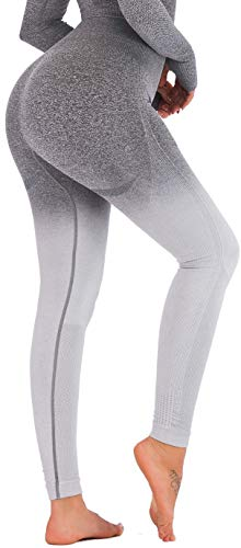 RUNNING GIRL Ombre Seamless Gym Leggings Power Stretch High Waisted Yoga Pants for Women Running Workout Leggings(2050 Grey,M)
