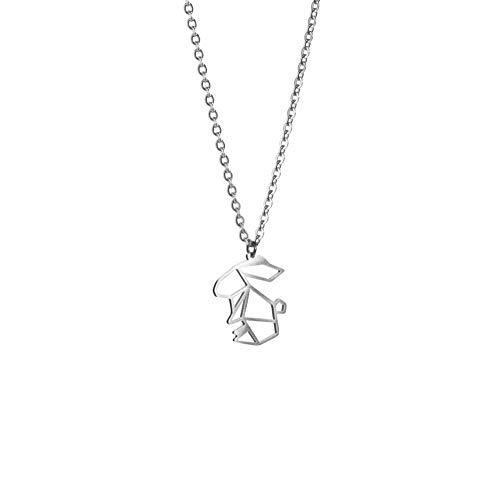 La Menagerie Conejo Plata, Joya de Origami & Collar geométrico Plata Mujer - Collar bañado en Plata de Ley 925 con diseño Animal Conejo - Joyería para niñas y Mujeres