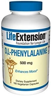 Life Extension D-L-Phenyalanine 500 mg, 100 Vegetarian Capsules