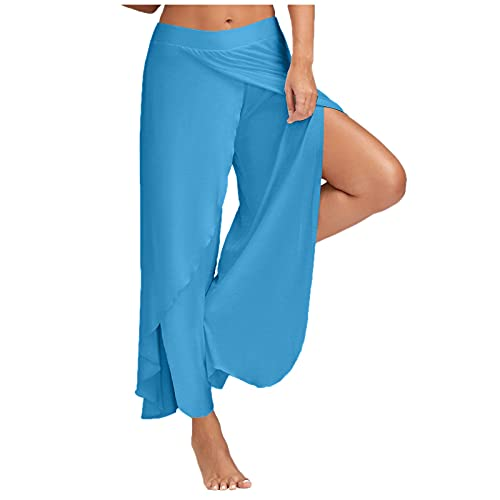 Leggings da donna, pantaloni da yoga Capri per donna, pantaloni da yoga sportivi ad alta elasticità, divisibili da donna, (#003) Blu cielo, L