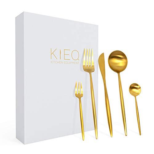 KIEQ Goldenes Besteck - Vergoldetes Besteckset für 4 Personen, 20-teilig - Aus 18/10-Edelstahl, mit PVD-Beschichtung - Rostfrei, spülmaschinengeeignet, tolles Geschenkset - 20-teilig, Gold matt