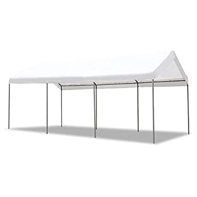 AECOJOY 10'X20' Carport Heavy Duty Car Port Canopy Tent Durable 220g Polyethylene Canopy Cover Party Tent Boat Shelter 8 Steel Legs, Gray