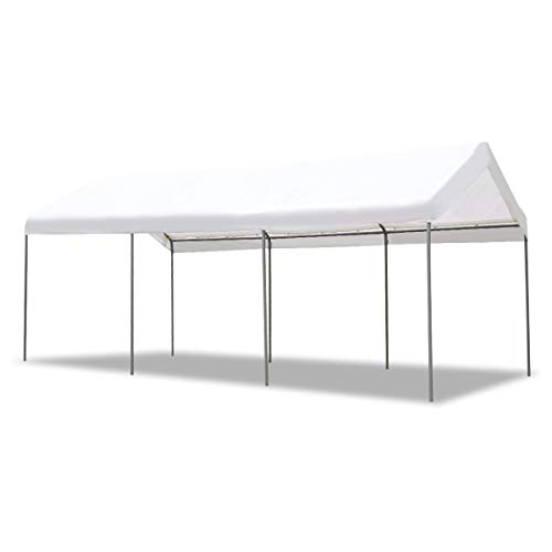 AECOJOY 10'X20' Carport Heavy Duty Canopy Car Port Tent Durable 220g Polyethylene Canopy Cover Party Tent Boat Shelter 8 Steel Legs, White