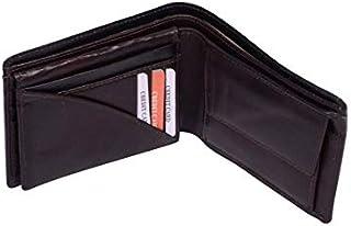 Genuine Leather Luxury Bifold Mens Wallet Dark Brown Credit Card Case Slim Purse