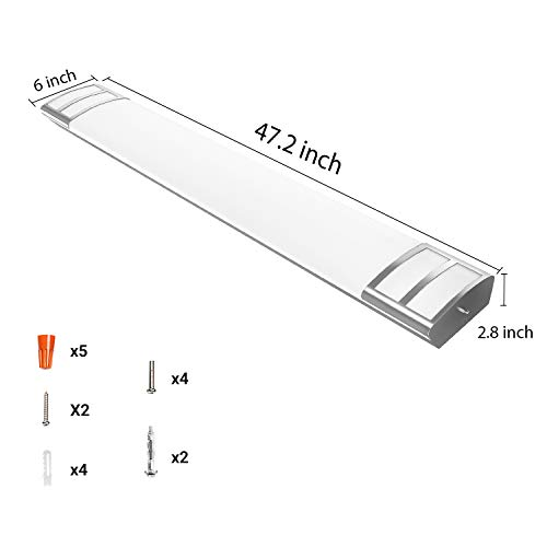 AntLux 4FT LED Flush Mount Puff Lights, 40W 4500LM, 4000K Neutral White, 48 Inch Linear LED Kitchen Ceiling Lighting Fixtures for Laundry, Craft Room, Fluorescent Light Replacement, ETL Certified