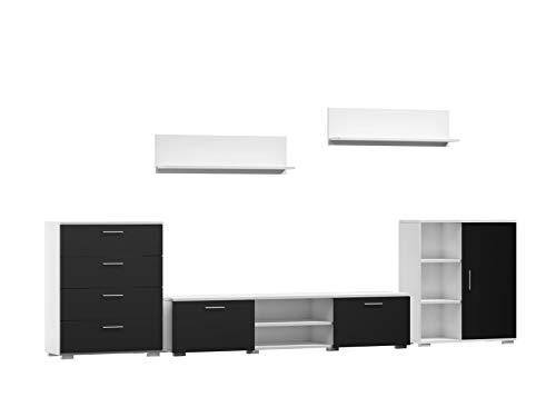 Per La Vita Wohnwand Szopen, Schrankwand Wohnzimmer Modern, Wohnzimmerschrank mit Fernsehtisch, Kommode, Sideboard und Wandregal, Wohnzimmer Komplett Möbel - Weiß/Schwarz