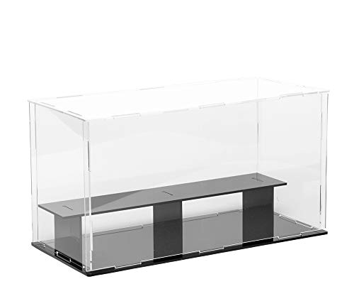 LANSCOERY 2 Steps Clear Acrylic Display Case Countertop Box Cube Organizer Stand Dustproof Protection Showcase for Action Figures, Toys, Collectibles (2 Tier 14x6x6inch; 36x16x16cm)