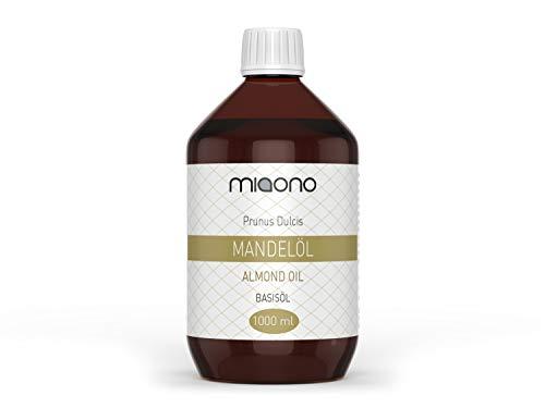 Mandelöl (1000ml) - 100% reines Basisöl in einer Glasflasche von miaono