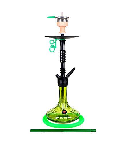 Amy Deluxe Shisha 085.01 Alu Claw - 75 cm, Green RS Black, Wasserpfeife mit Klick, Schliff, Kammernsystem und Hot-Screen Kaminkopf-Set