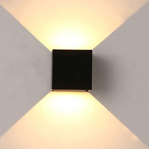 ETiME Applique Murale Interieur Exterieur Applique Murale LED 7W Blanc Chaud Lampe Murale Etanche IP65 Up and Down Angle d'Eclairage Réglable Applique Murale Noire