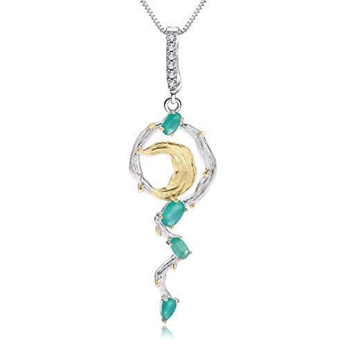 Collar con colgante de luna hecho a mano de piedras preciosas de ágata verde natural de joyería fina de plata de ley 925 para mujer